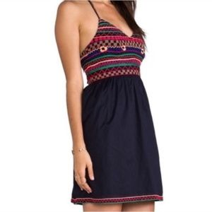 Pia Pauro Anthropologie embroidered dress halter